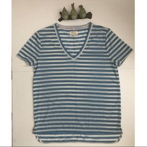 Lou & Grey LOFT Blue and White Striped V-neck Tee
